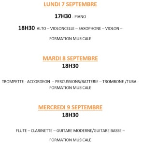 horaire inscription